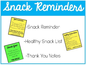 Snack Reminder Notes - Community Snack