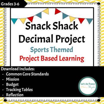 Snack Shack Decimals Sports Themed PBL