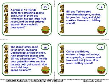 Snack Shack Math Task Cards: UK VERSION