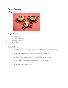 Snack Spider Recipe and Questions