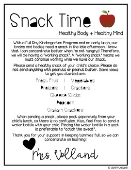 Snack Time Letter | Editable