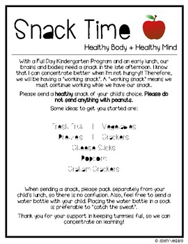 Snack Time Letter