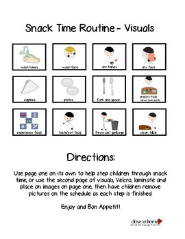 Snack Time Visual Schedule