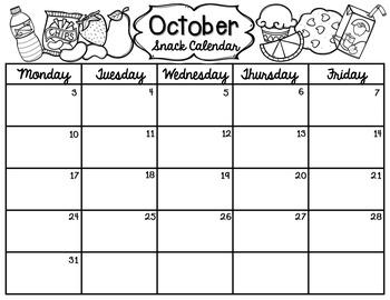 Editable Snack and Share Calendar Kit