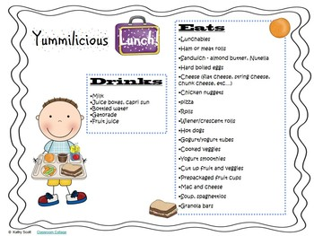Snack and lunch suggestions handout