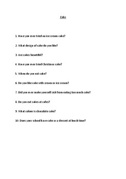 Snacks - ESL Question Sheets (Ages 6-12)