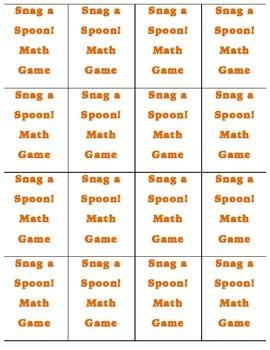Snag a Spoon! Fraction, Decimal, Percentage Equivalency Game