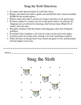 Snag the Sloth - Least Common Multiples (LCM) Game