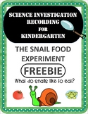 Snail Food Science Experiment Recording Sheet