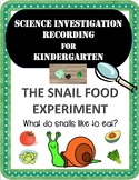Snail Food Science Experiment Recording Sheet Pack