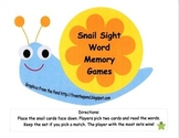 Snail Sight Word Memory Games-Kindergarten and First Grade