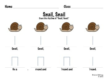 Snail, Snail Beat/Rhythm Worksheets