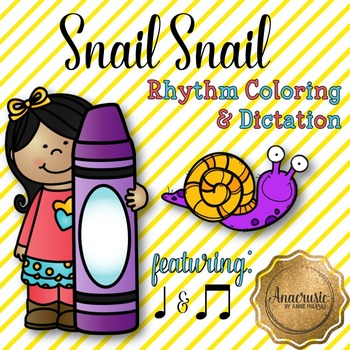 Snail Snail Coloring/Dictation Page (ta & ti-ti prep & practice)