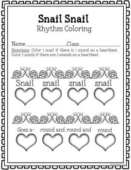 Snail Snail Coloring/Dictation Page (ta & ti-ti prep & practice)
