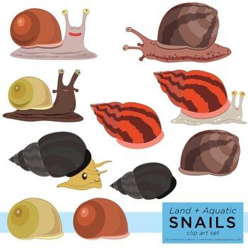 Snails Clip Art Set (Aquatic and Land Snails)