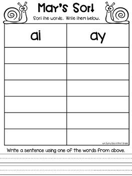 Long a Vowel Teams: ai & ay