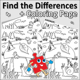 Snails and Mushroom Find the Differences and Coloring Page, Commercial Use OK