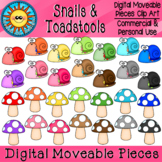 Snails and Toadstools Digital Moveable Clip Art