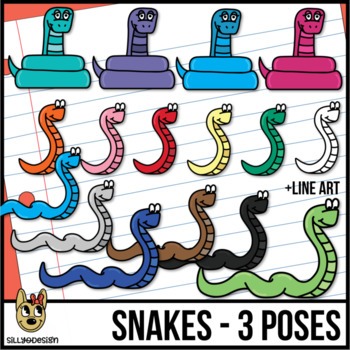 Snake Clipart - Snakes in 3 poses (Coiled, slithering, S upright)