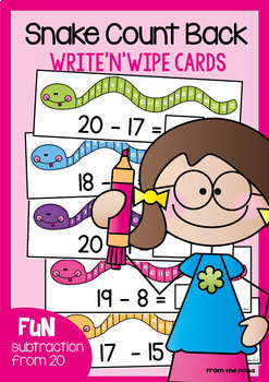 Subtraction Activity Cards - Snake Count Back Set 2 - Math Center