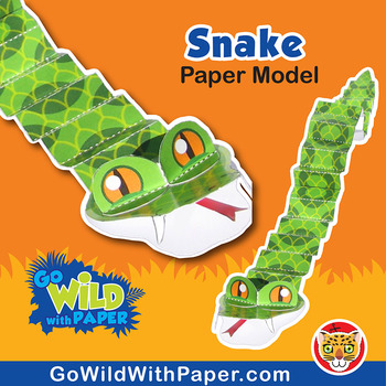 Snake Craft Activity 3d Paper Model By Go Wild With Paper Tpt