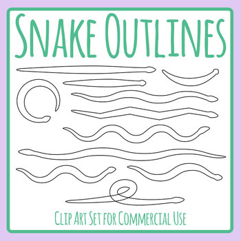 Snake Outlines / Templates / Graphic Organizers Clip Art Set Commercial Use