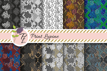Snake Skin Seamless Pattern Set. Digital paper pack.