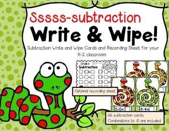 Snake Subtraction---Write & Wipe Cards for Subtraction to 10 (K-2)
