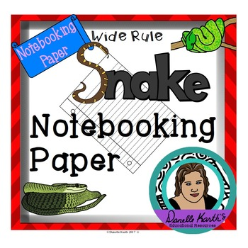 Snake Themed Notebooking Paper - 30 Wide Rule Pages In Color and Black and White