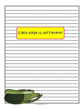 Snake Themed Notebooking Paper - Combo Pack with Wide Rule and Primary Lines