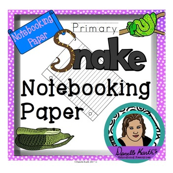 Snake Themed Notebooking Paper - Primary Guide Lines - 30 Pages