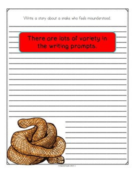 Snake Themed Writing Prompts on Themed Paper - 30 Different Prompts!