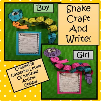 Snake Write and Craft, Boy and Girl!