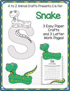 """Snake and Letter """"S"""" Crafts and Writing Pages"""