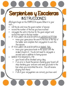 Snakes & Ladders Board Game, Imperfect Tense Spanish