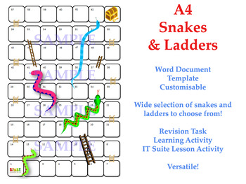 Snakes ladders template board game revision activity for Snakes and ladders printable template