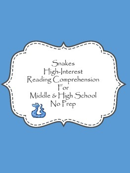 Snakes: Non-fiction Reading Comprehension