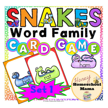 Snakes Word Family Card Game with 10 Word Families