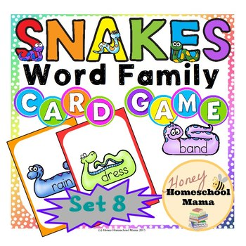 Snakes Word Family Card Game with 10 Word Families - Set 8