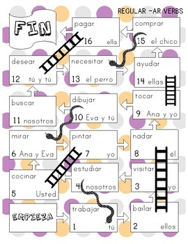 Snakes and Ladders Board Game, Present Tense Spanish BUNDLE!