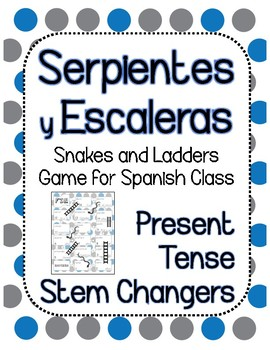 Snakes and Ladders Board Game, Spanish Present Tense Stem Changers
