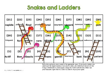 Snakes and Ladders French Adverbs