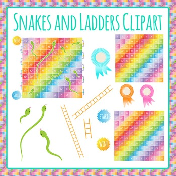 Snakes and Ladders Game Clip Art Pack for Commercial Use