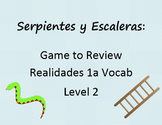 Snakes and Ladders Game to Practice Realidades 1A Vocab (Spanish 2)