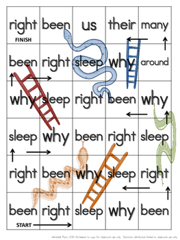 Snakes and Ladders Grade 2 Dolch Words