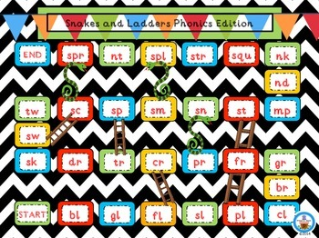 Snakes and Ladders Phonics Game Boards for Literacy Stations or Centers