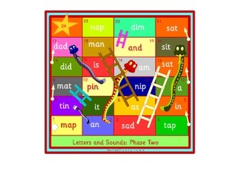 Snakes and Ladders phonics games. Phase 2 of the Letters and Sounds scheme.