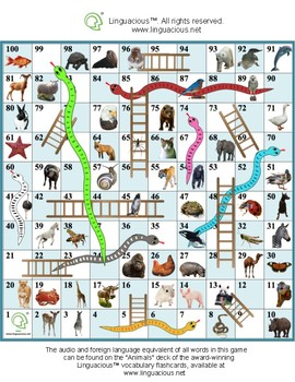Snakes and Ladders - Practice animal names in various foreign languages!