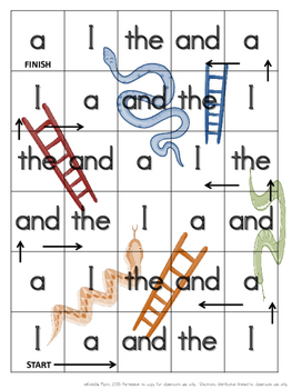 Snakes and Ladders PrePrimer Dolch Words