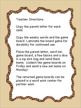 Snakes and Ladders Sight Word Homework and Word Work Program